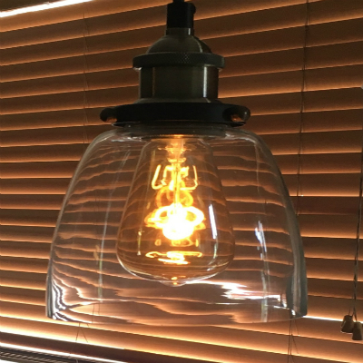 Burton Lighting single pendant using The Burton Bulb for bare bulb lighting look